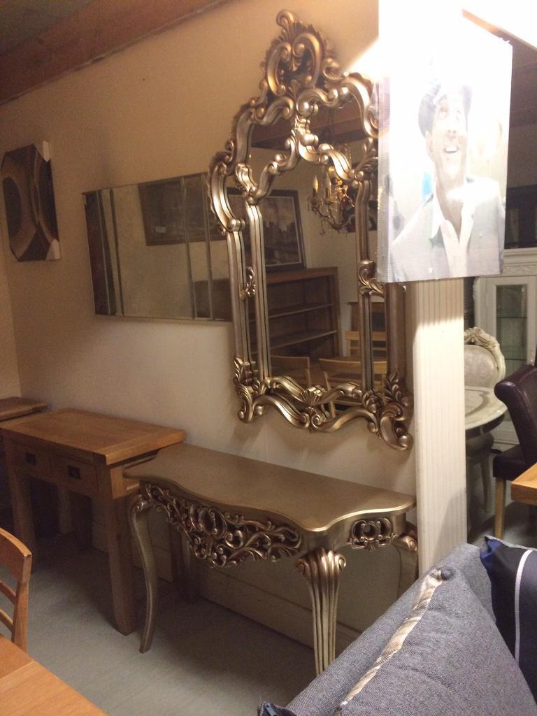 Console tables and mirror silver and goldin Dungannon, County TyroneGumtree - we are between dungannon and coalisland in derryvale our postcode is bt71 4dy we can deliver 02887748685 open Monday to Saturday feel free to call down derryvale wood products on fb as derryvale furniture