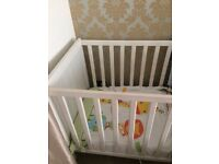 White baby cot and 2 matching wardrobes