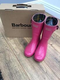 Girls Pink Barbour Wellies Size 1