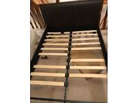Metal & Wood double bed stead with leather head & footboard