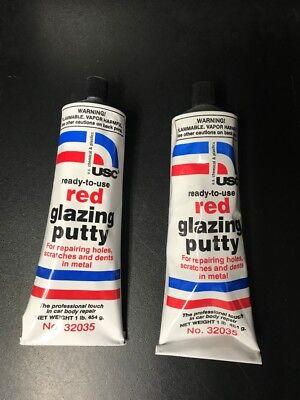 2 Tubes Red Glazing Putty U.S.Chemical & Plastics 32035 USC Auto Body fillers Auto Body Fillers Usa