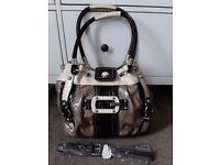 Large Genuine Guess Handbag patent leather, cream tan and black £55 ono