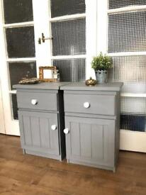 Pair Bedside Tables Free Delivery Ldn shabby chic French Grey