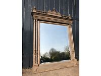Vintage Antique French Painted Overmantle Bevelled Mirror