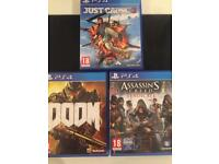 PS4 games( doom, just cause 3 and assassins creed syndicate
