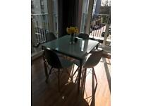 Glass 4 person dining table (not inc chairs)