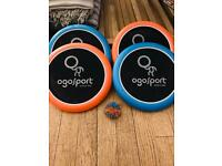 Bouncy sports disk and Koosh ball