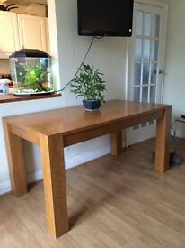 Oak and veneer table