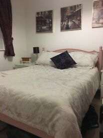 Double bed with mattress - shabby chic style.
