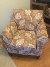 Brown and beige armchair for sale