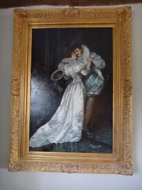 Oil Painting in Heavy Gilt Frame by Thomas Lancaster