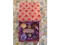 Bathbomb gift red box hand made sheabutter moisturiser soap artizan orange melt lavender detox