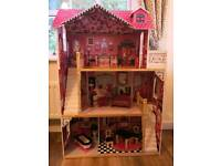 Tall wooden Dolls hiuse with furniture