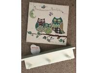 Bedroom owl shelf and canvas