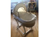 MOSES BASKET WITH WOODEN ROCKING STAND MOTHERCARE ASDA PLUS BEDDING BUNDLE