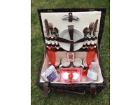 Wicker picnic basket, Luxury dark brown, classic 4 person with added accessories!