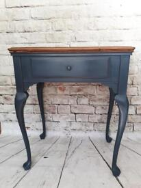 Black carbon wooden side table console