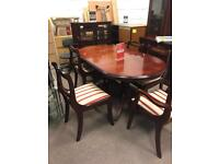 Good solid table and six chairs dining table