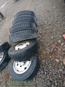 225/70R19.5  tires and rims  ,90 % Thread
