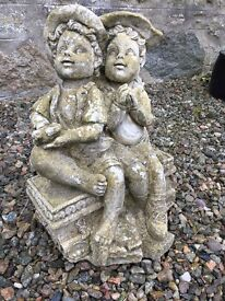 Garden statue, Stone or similar aged and weathered beautifully minor damage c 500mm high