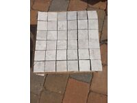 Silver beige honed mosaic tiles