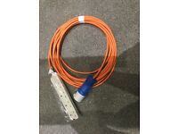 Hook up cable for tent or awning 10m long brand new with blue site plug and 4way 13a UK socket