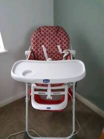 Chicco high chair red and grey