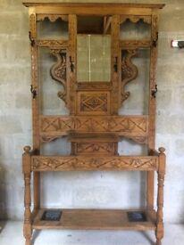 Old Scottish designed wooden hallstand