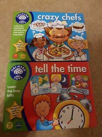 Orchard toys tell the time and crazy chefs game