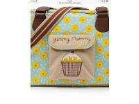 Pink lining sunflowers changing bag