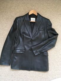 Italian women's leather blazer jacket (black), size 12-14