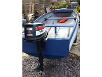 14ft boat on trailer with good outboard ready to go fishing oars anchor life jackets