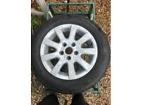 """VW MK5 alloy wheels 15"""" 3 brand new tyres ,1 still useful. Can be painted whatever colour you want"""