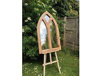 Solid oak Gothic arch mirror