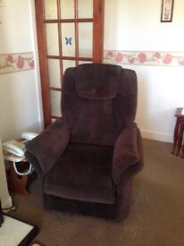 Electric rise chair brown fabric