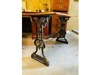 Stunning French cast iron base bistro table. Beautiful cast iron base with lions head decoration