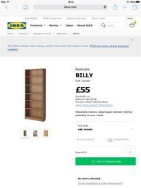 IKEA Billy tall oak veneer bookcase