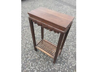 Chinese Hardwood Console Table , lovely carved detail. Size L 19in D 10.5in H 33in.