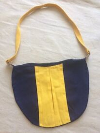Simple Navy and Yellow Canvas Shoulder Bag