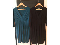2 x Red Herring Jersey Tie Back Maternity Dress - Black and Turquoise Size 12