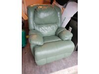 Green leather electric reclining arm chair