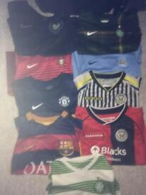 10 football strips, 9 strips with shorts, 1 adidas training top
