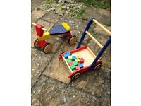 John Crane Coloured Wooden Trike / Scooter and Walker with bricks