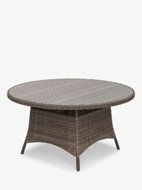 JUST TOP, 6-Seat Round Dining Table, wicker & glass, DANTE John Lewis & Partners