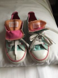 Converse All Star, girls, size 12. Mint green with pink and peach double tongue.