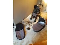 Grey icandy strawberry stroller and carrycot .