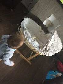 Immaculate barely used Moses basket