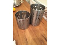 2 IKEA silver utensil containers