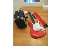Stratocaster electric guitar and amplifier package