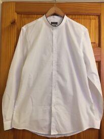 Zara Man Slim Fit White Grandad Collar Shirt XL